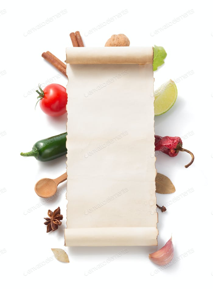 parchment scroll and food  ingredient