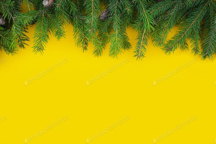Christmas and New Year yellow background