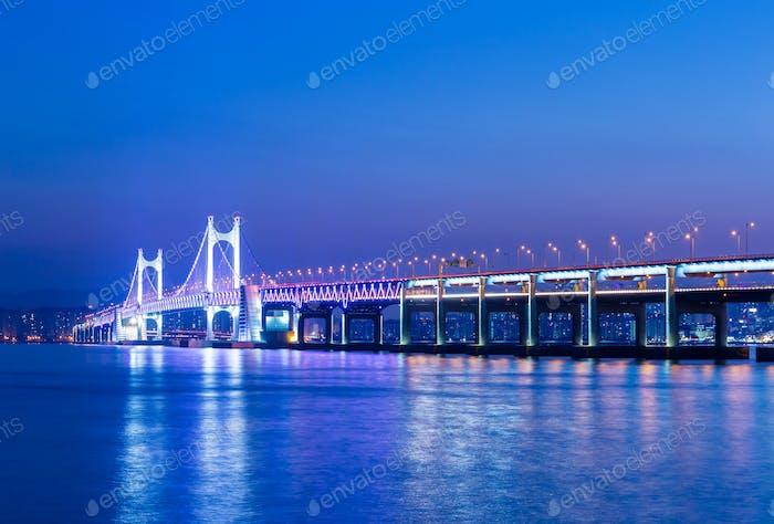 Busan and suspension bridge