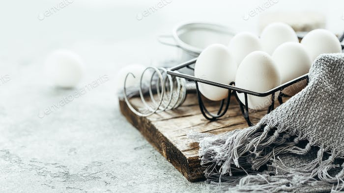 Fresh chicken eggs for cooking