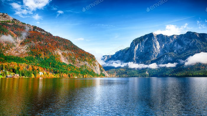 Sunny morning on the lake Altausseer See Alps Austria Europe