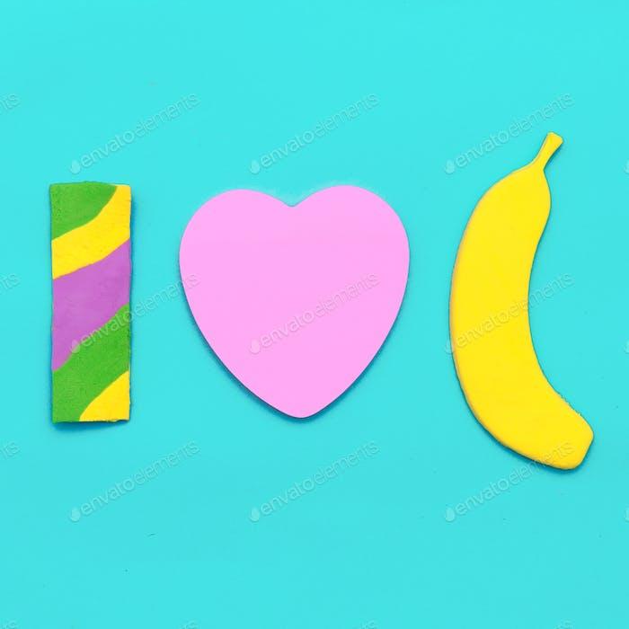 Sweet Candy fashion Art Minimal flatlay. I love bananas