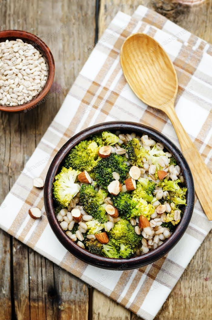 broccoli almonds barley porridge