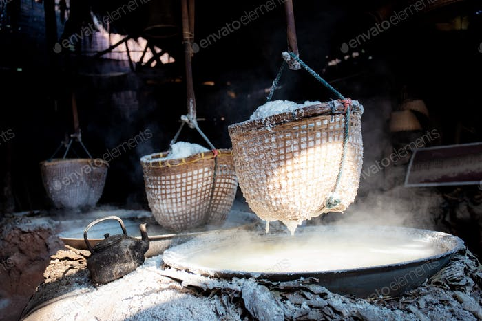 Salt in basket on stove