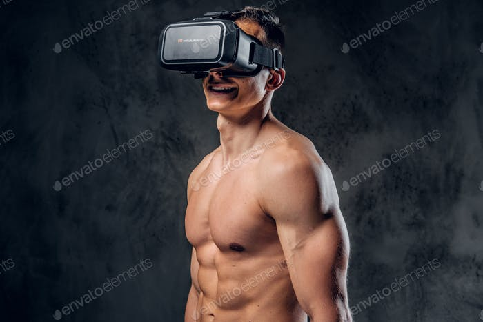 A man with virtual glasses on his head.