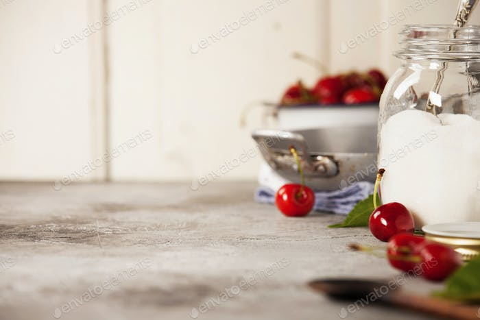 Ingredients for sweet cherry jam