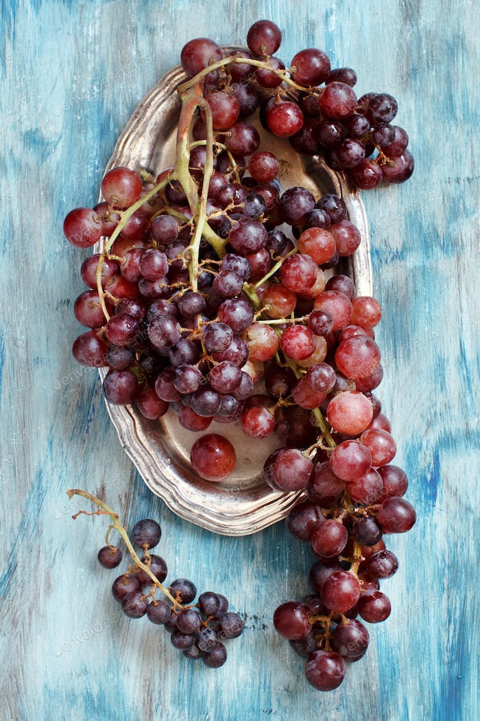 Grapes on silver tray