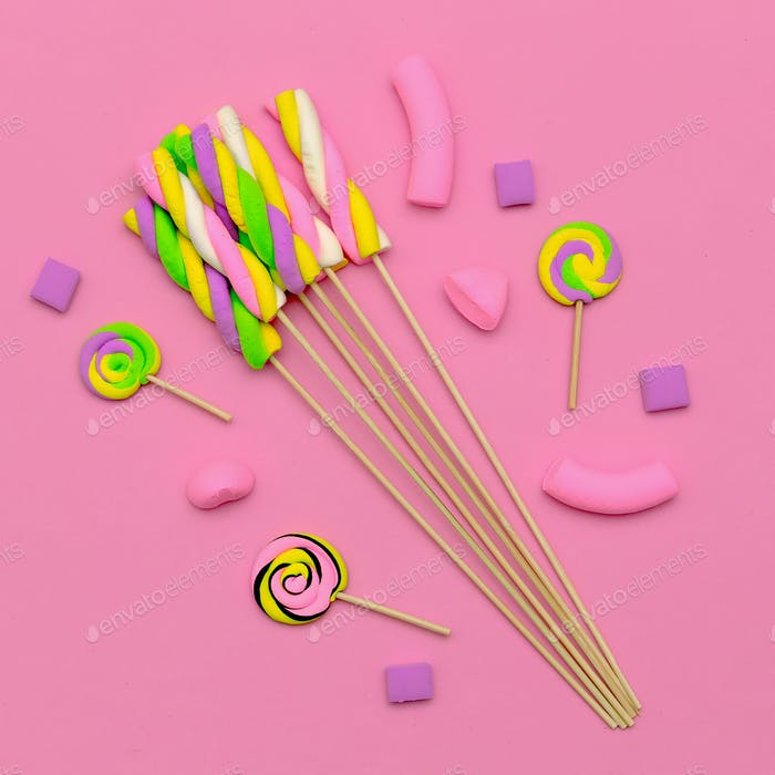 Marshmallow Candy Mix. Sweet lover.Pink mood Flatlay art