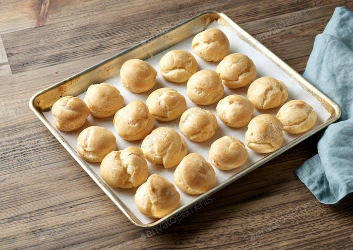 freshly baked cream puffs