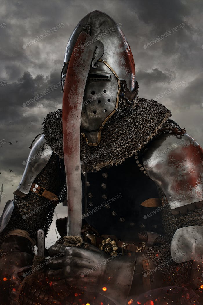 Knight with sword in battlefield.