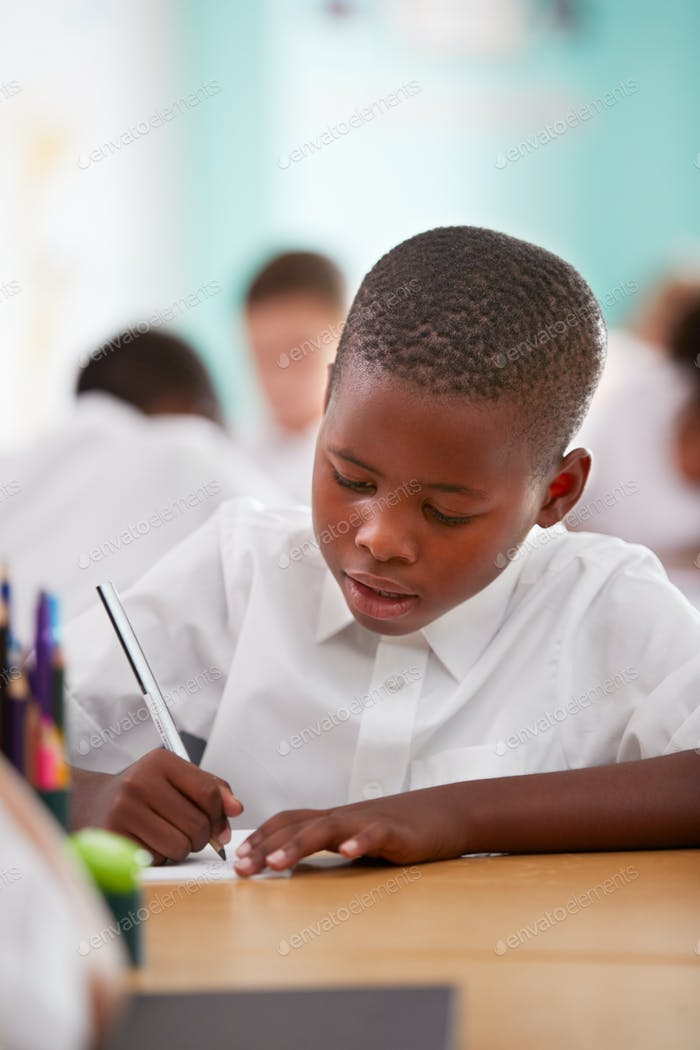 Male Elementary School Pupil Wearing Uniform Working At Desk