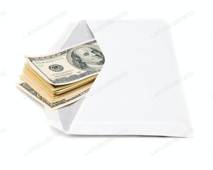 Banknotes (dollars) in an envelope.