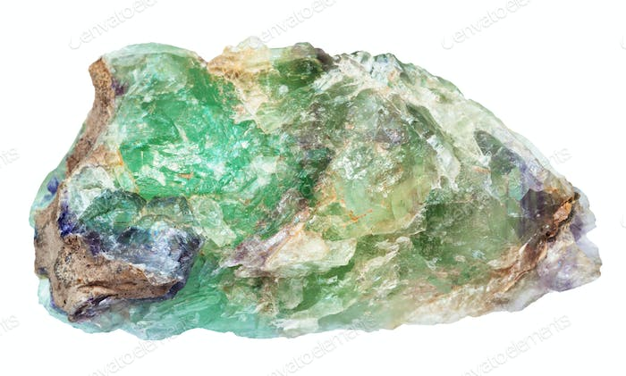 raw green Beryl gemstone isolated