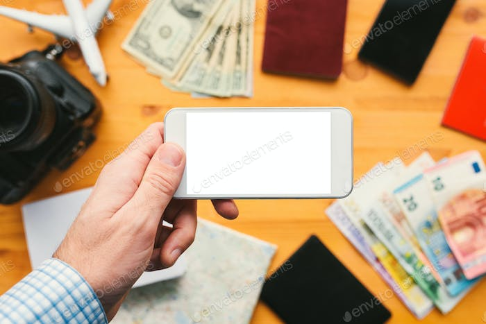 Business travel app for mobile phone mock up screen