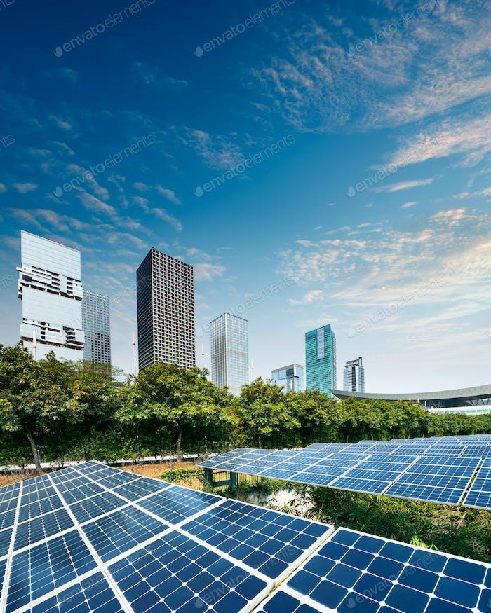 Solar panels in city