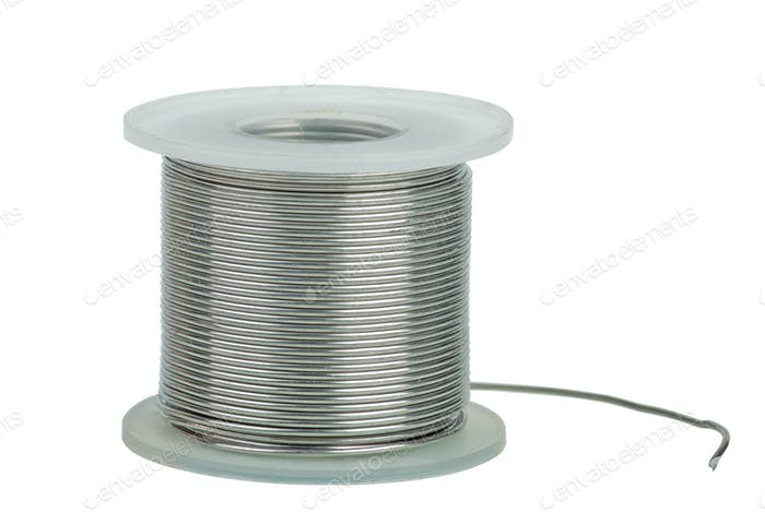Spool of soldering alloy