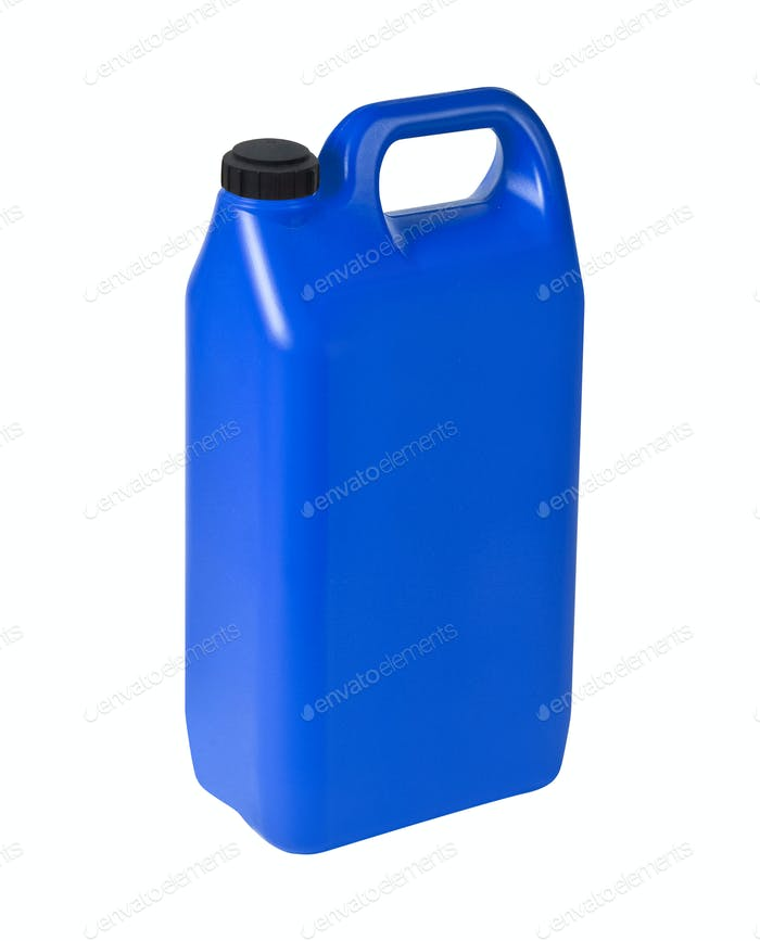 Plastic Jerrycan Oil, Cleanser, Detergent, Abstergent, Liquid Soap, Milk, Juice isolated on white