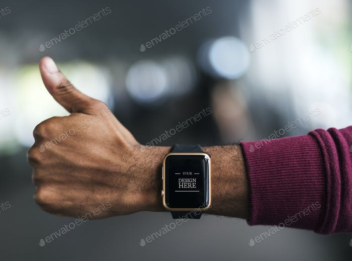 Closeup of a smartwatch mockup