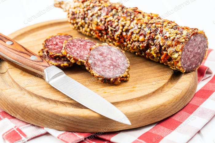 Sliced spicy salami sausage