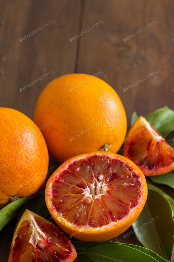 Fresh red Sicilian  oranges with leaves