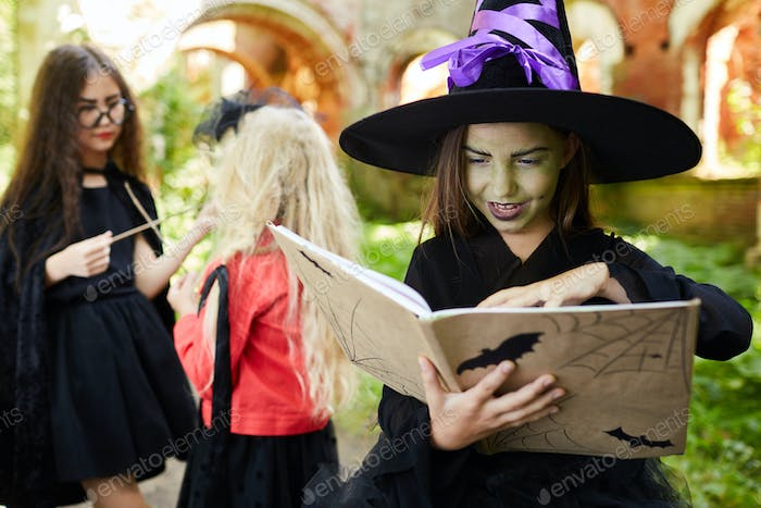 Girls Playing Witches on Halloween