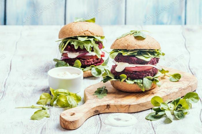 Vegetarian burger made of beetroot