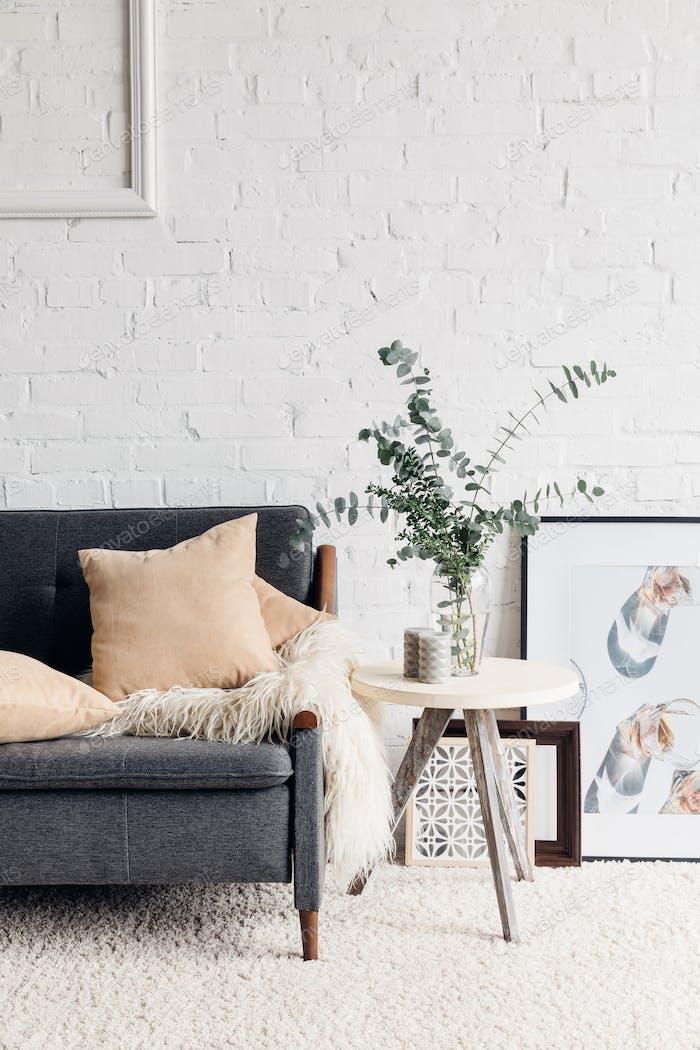 modern living room interior with stylish decor, mockup concept