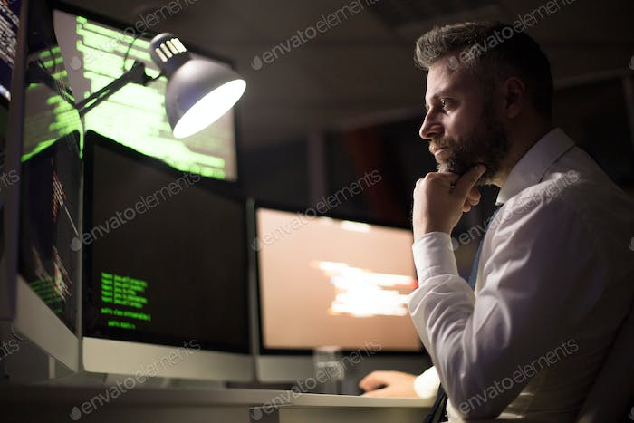 Bearded Coder Concentrated on Work