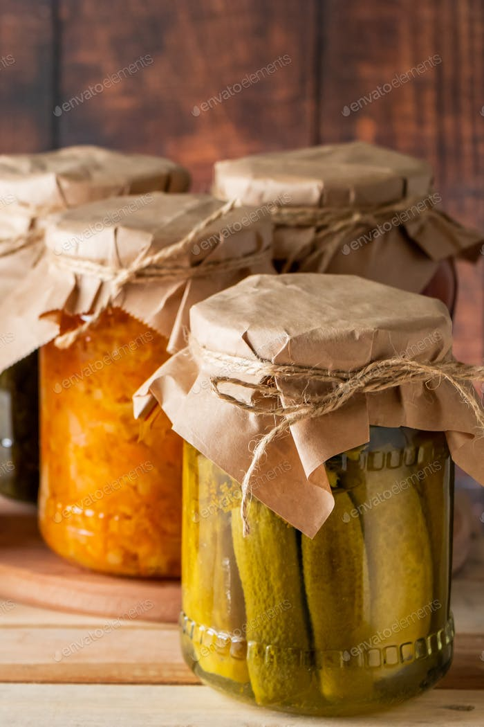 Fermented trending food. Home rustic style.