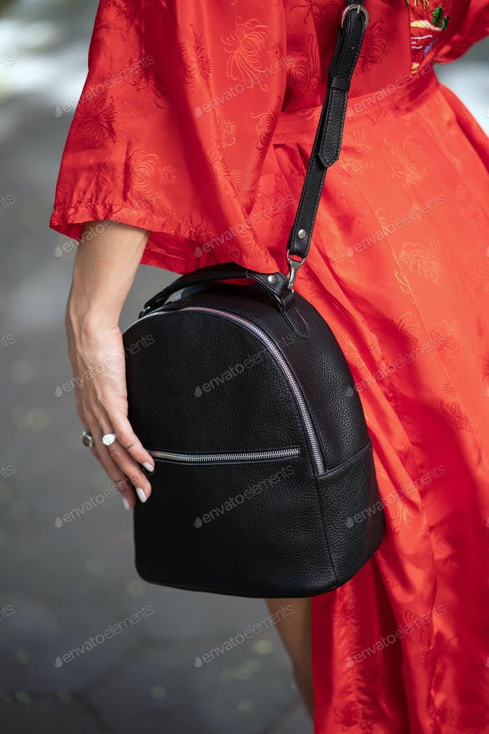 Fashionable, beautiful, women's bag from a close angle
