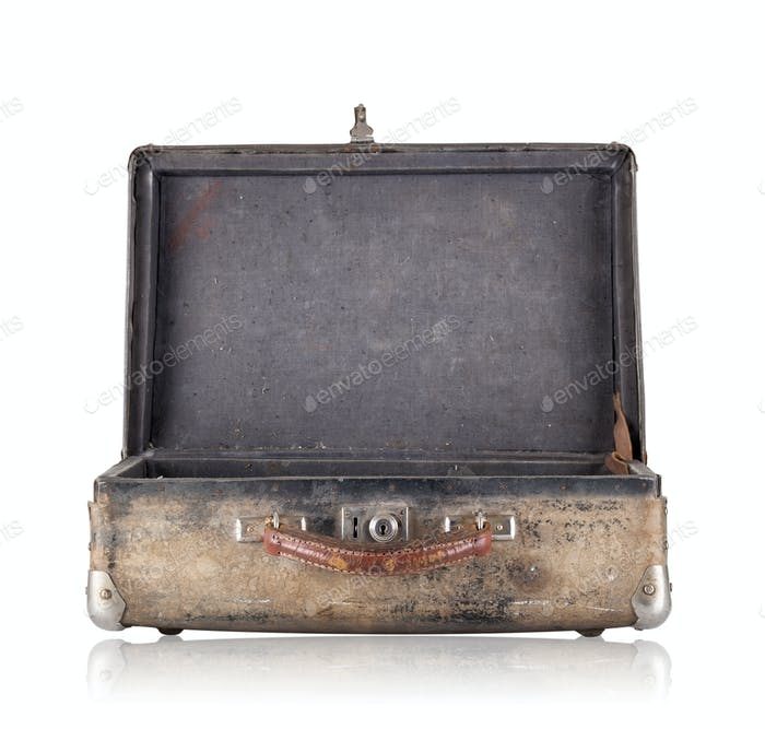Open old suitcase with black upholstery inside