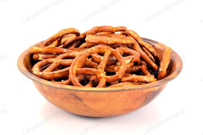 A Wooden Bowl ofg Pretzels