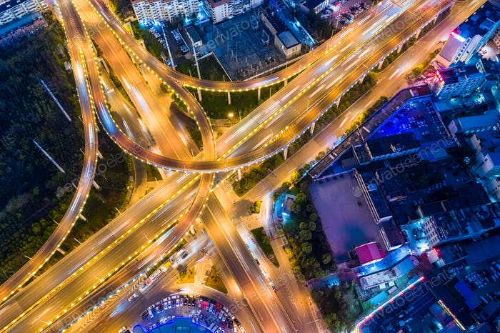 beautiful night traffic scene, aerial view of city interchange
