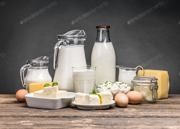 Assortment of dairy products