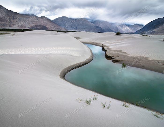 Dunas de Arena del Valle de Nubra. Paisaje de las montañas del Himalaya