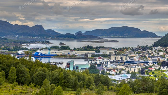Aerial view over Ulsteinvik town