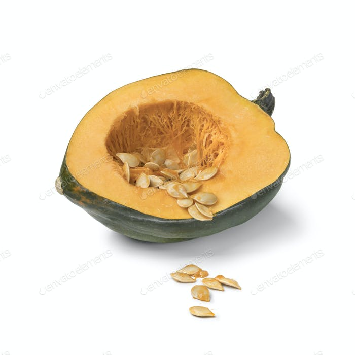 Halved fresh green acorn squash with seeds