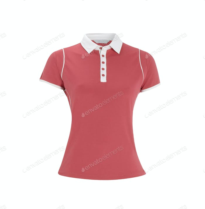 Red polo t-shirt on white background