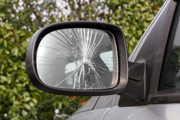 Damaged rearview mirror