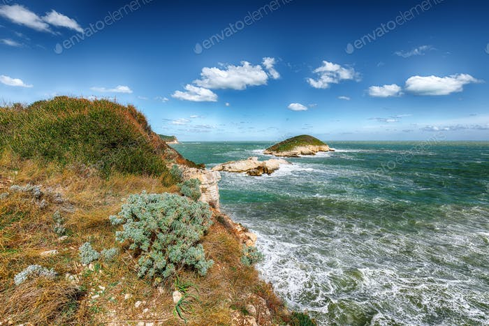 Above the cliffs at the coastline of Vieste