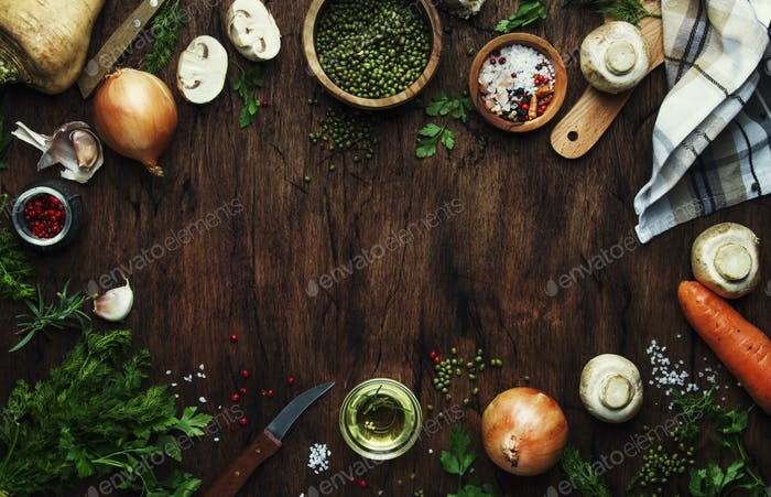 Food cooking frame background