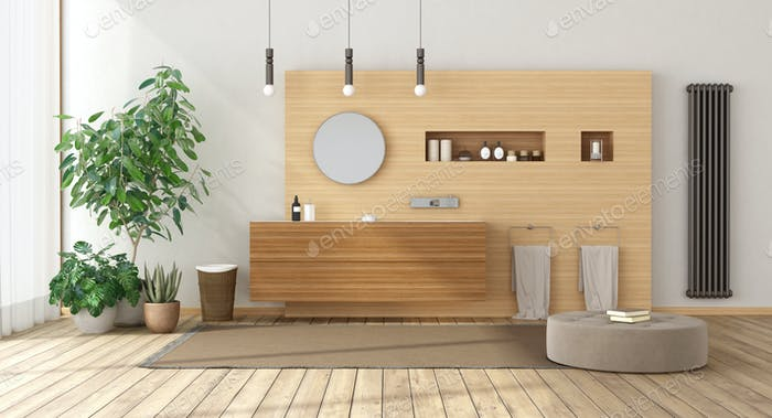 Minimalist bathroom with wooden furniture