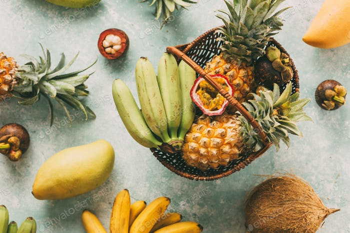 Ripe tropical fruits in a basket