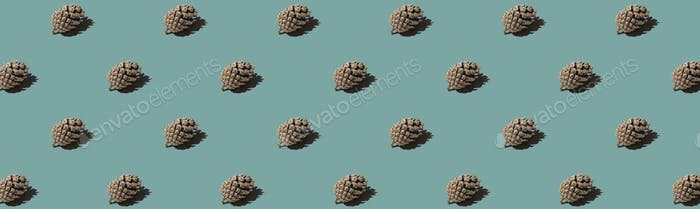 Banneer pattern cone. Isolated object on a blue and green background.