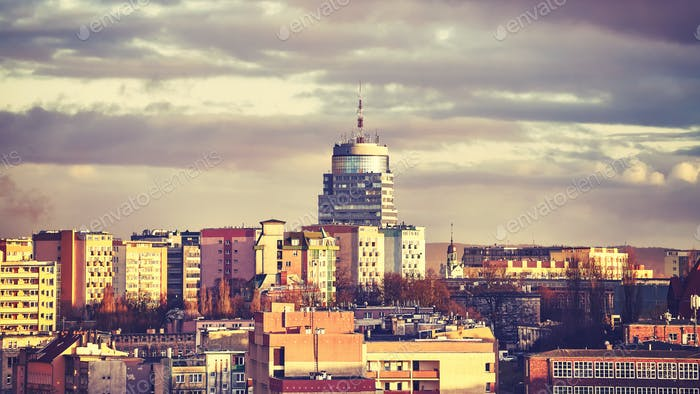 Szczecin City skyline at sunset, Poland.