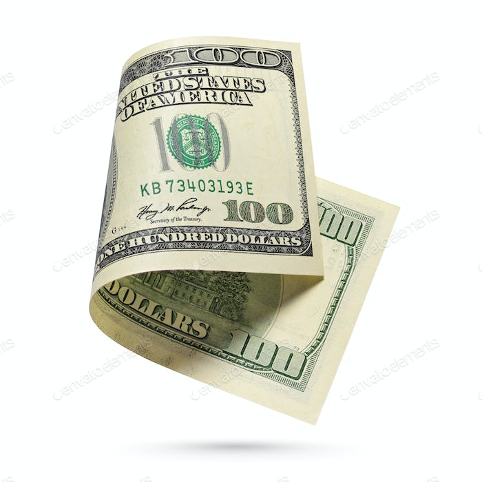 One hundred dollars bill isolated on a white background.