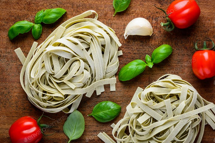 Green Tagliatelle and Cooking Ingredients