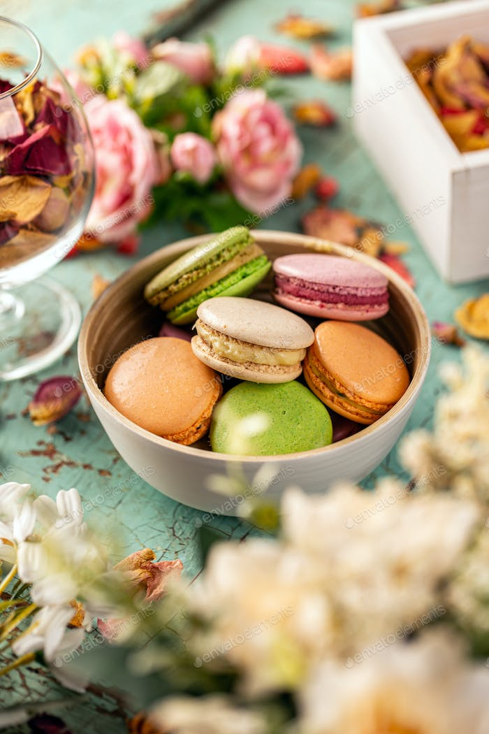 Traditional French colorful macaroon