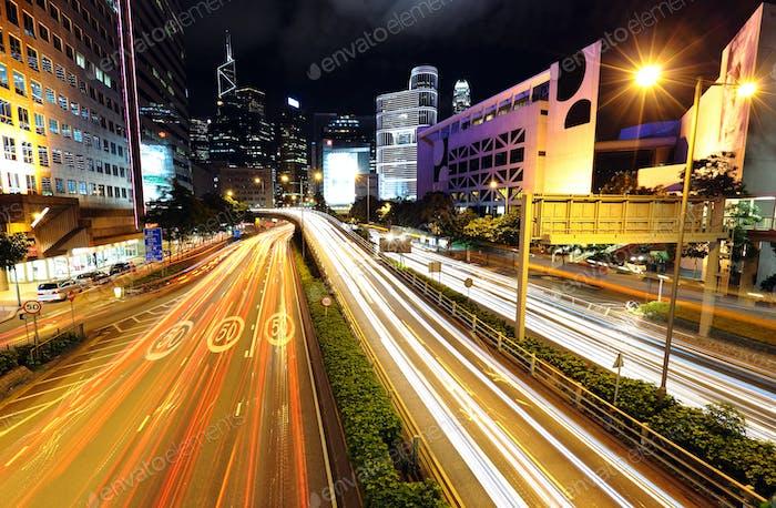 traffic at city at night