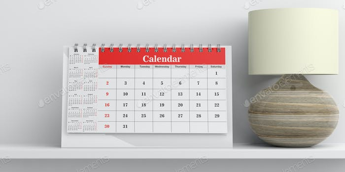 Desk calendar and a table lamp on white background. 3d illustration